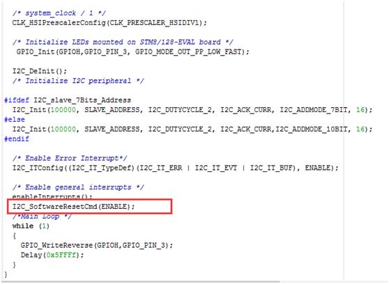 Stm8s部分型号 I2c从模式busy位一直置位